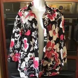 Floral Black and Pink Cotton Jacket 1X CJ Banks